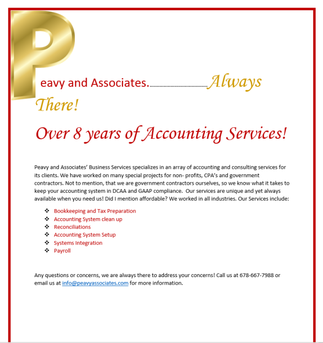 Affordable Accounting Services for Small Businesses – Peavy and ...